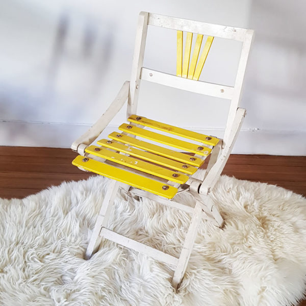 Wooden Foldable Yellow Kids Chair Old Is The New New