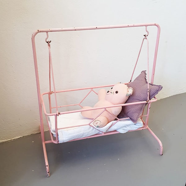 pink-metal-boucing-doll-bed-vintage-toys-cape-town-1